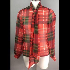 ASOS Red Green Plaid Holiday Sheer Bow Blouse
